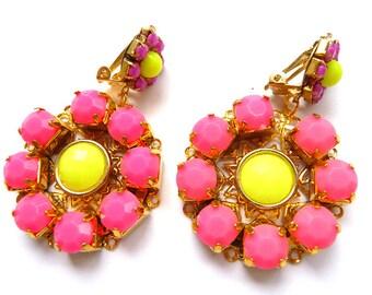 Neon earrings, Pink neon earrings, Pink yellow, earrings, neon dangle earrings, dangle neon earrings, Pink clip earrings, clip pink earrings