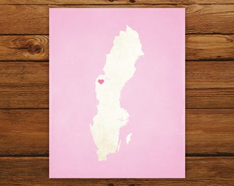 Customized Printable Sweden Country Map Art - DIGITAL FILE - Aged-Look Canvas Wall Art Print