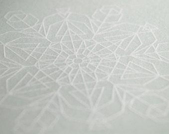 Glacial Blue Snowflake Letterpress Card – Triangles