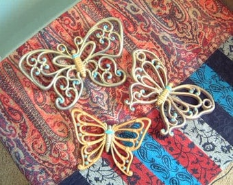 Butterflies- vintage- wall decor- Honcho-1970's- three butterflies- turquoise- pumpkin-home decor- purple- gold