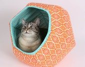 The Cat Ball Bed Modern Pet Furniture in Orange and White Diamond Fabric