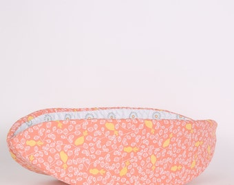 Cat Canoe Modern Cat Bed Yellow Birds on Melon Coral Cotton Fabric Pet Bed Made in Washington