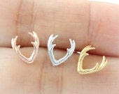 Deer Antler Earrings / choose your color, gold and silver