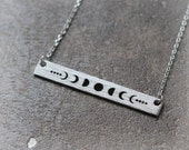 Moon Phases Bar Necklace / moon phases jewelry