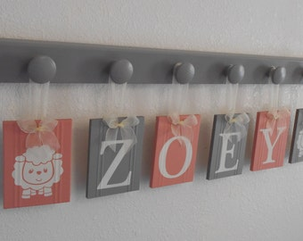 Lamb Baby Name Block . Lambs . Art Name Letters . Plaques Personalized Name Block . Painted Gray and Coral . Lamb Baby Shower Gift