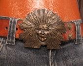 70's Vintage Men's Hippie Western Indian Buckle belt med.