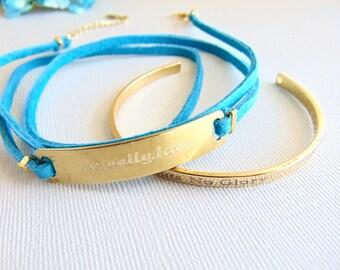 Turquoise Leather wrap bracelet, inspirational bracelet, custom message bar bracelet, stamped Bracelet, Engraved motivational quote jewelry.