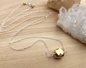 Gold Pyrite Cube Necklace Sterling Silver Simple Modern Necklace Cube Charm Necklace Everyday Pendant Necklace