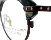 Vintage Club Glasses Eyeglasses Sunglasses New Frame Eyewear Burgundy Silver Studs