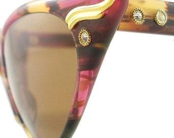 15% OFF CODE 'FIFTEEN' Vintage Cat Eye Glasses Eyeglasses Sunglasses New Frame Eyewear Marbled Pink And Browns