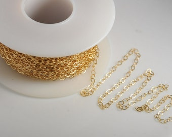 1 foot: 14K gold filled flat cable chain 2X3mm link for jewelry making