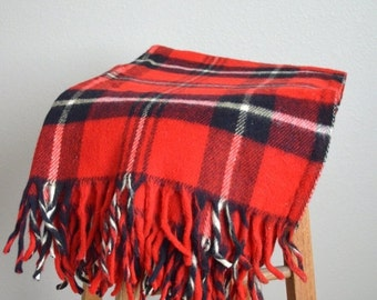 Fall SALE 20% Off - Vintage 80s 90s Faribo Faribault Red Plaid Acrylic Personal Blanket- picnic stadium