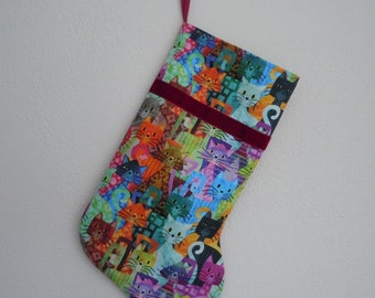 Multicolored Cats Christmas Stocking for Your Cat or Cat Lover