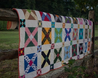 """In Box or X Box, 80"""" x 90"""", Queen Size Quilt"""