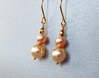 Pastel pearl gold earrings, gold and peach crystal pearls cream earrings, pearl gold jewelry