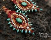 Tribal Earrings/ BIg earrings/ bold earrings/ boho earrings/ red gold turquoise