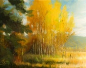 Original oil painting, Aspen Autumn IV, impressionism landscape of lovely seasonal Aspen trees