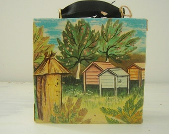 Vintage European Folk Illustrations Covered Wall Hanging Bee Hives