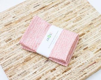 Small Cloth Napkins - Set of 4 - (N4931s) - Slash Dot Pink Modern Reusable Fabric Napkins