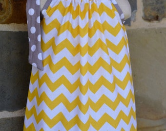 Yellow Chevron and Gray Polka Dot Pillowcase Dress