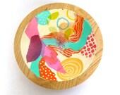 MIXED MEDIA BOWL/ Upcycled wood bowl
