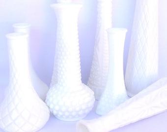 8 Vintage MILKGLASS VASES/ Instant Collection Bud Vases