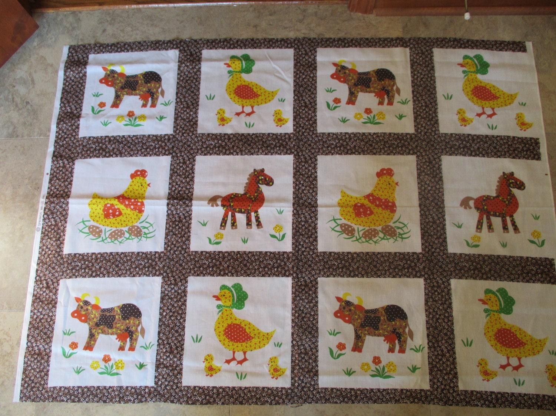 Vintage Fabric Panels Of Animals: Quilt Blocks Pillow Panels