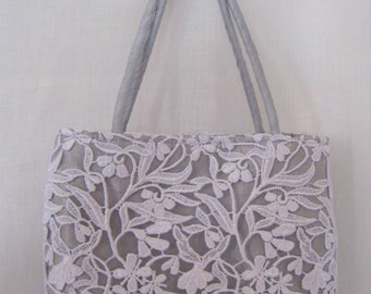 SALE White Lace and Silver Shantung Handmade Mini Tote for Weddings