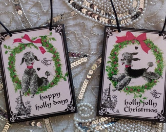 Holly Ribbon Black Silver French Poodle Christmas Holiday Decorative Ornaments Set of Two