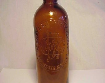 c1890s The Duffy Malt Whiskey Company Rochester, N.Y., Cork Top Amber Glass Whiskey Bottle No. 2