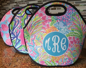 Monogrammed Lunch Bag, Monogrammed Lunchbox, Personalized Lunch Tote, LP Inspired CHOOSE Your Pattern