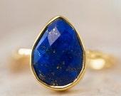 WINTER SALE - Lapis Ring - September Birthstone Ring - Gemstone Ring - Stacking Ring - Gold Ring - Tear Drop Ring