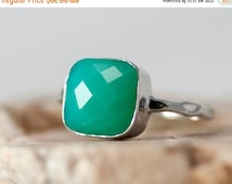 SALE - Mint Green Chrysoprase Ring Silver  - Mont Stone Ring - Stacking Ring - Sterling Silver Ring - Cushion Cut Ring