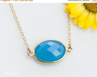 40 OFF - Blue Chalcedony Necklace - Layering necklace - Bezel Set Gemstone Connector Necklace - Bridesmaid Necklace - Gold Necklace