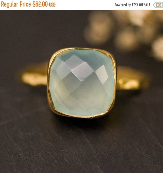 SALE - Aqua Blue Chalcedony Ring Gold - Solitaire Ring - Gemstone Ring - Stacking Ring - Gold Ring- Cushion Cut Ring