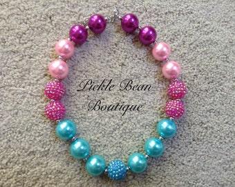 Bubblegum Necklace, Pink Aqua Blue Chunky Necklace, Chunky Baby Necklace, Girls Kids Necklace, Bubble Gum Necklace, Bubblegum Necklace