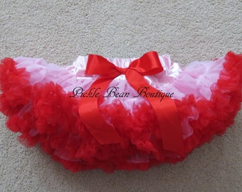 Baby Girl Valentine Outfit - 0-9 mo - Pink and Red Pettiskirt - Ready To Ship - Valentines Day Tutu - Baby Petticoat Skirt