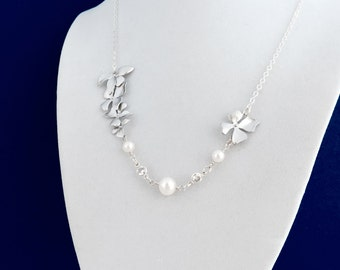Wild Orchid Necklace, Diamond CZ, White Pearl Freshwter Pearl, Sterling Silver Chain, Wedding Jewelry
