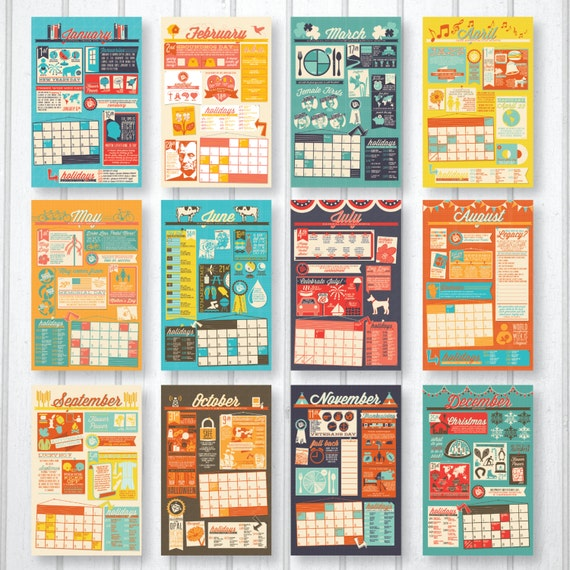 2017 Infographic Wall Calendar by thirdcoastpaper on Etsy