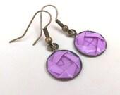 Origami Camellia Dangle Earrings //  Lavender