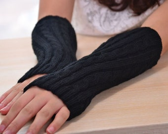 Black knit arm warmers fingerless gloves