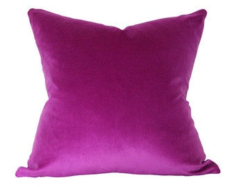 Orchid Dark Magenta Purple Velvet Pillow Cover - Made-to-Order