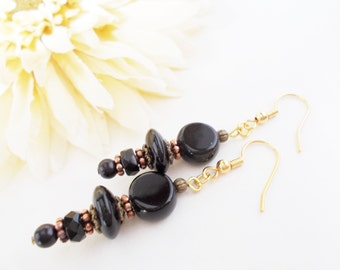 Black Beaded Earrings, Black Gypsy Earrings, Bohemian Earrings, Bohemian Black Earrings, Antiqued Brass Earrings, Black Glass Earrings