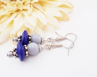 Blue Beaded Earrings, Navy Blue Earrings, Clip On Earrings, Dangle Earrings, Boho, Gray Earrings, Dark Blue Earrings, Czech Glass Earrings