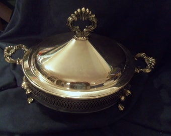 Beautiful Round Silver Plate Casserole Holder with Lid, Vintage