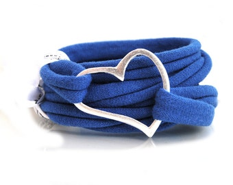 bracelet wrapped royal blue fabric with love and silver plated metall heart