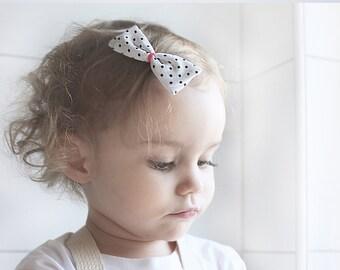 Monochrome Hair Bow Nylon Headband or Aligator clip, Polka Dots Hair Bow With Polyester Cord Accesnt