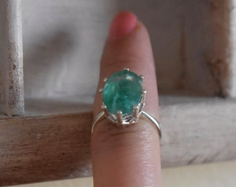 one of a kind- hand crafted- raw rough AAA Colombian Emerald ring - sterling silver