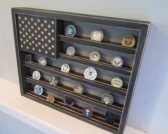 BIG Military Challenge Coin Display Rack Holder Collector - USA Flag - Gift for Veterans Army Navy Air Force Marines Coast Guard Retirement