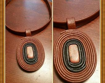 Leather and semi-precious stone choker, removeable pendant, necklace.